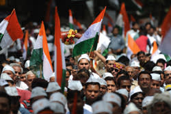 Some of Anna Hazare's supporters at a rally in 2012