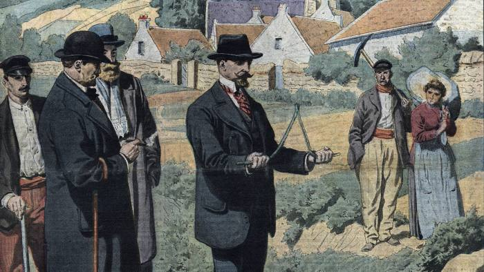 Locating ground water with Dowsing Rods, Illustration from French newspaper Le petit Journal , 1913 (Photo by Leemage/UIG via Getty Images)