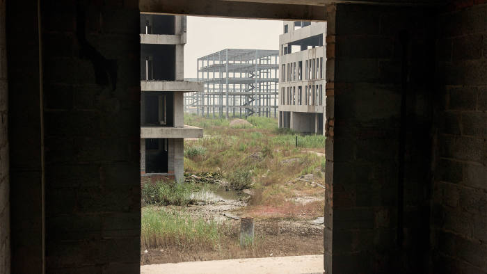 Abandoned buildings in Caofeidian Environmental Industries Park in China