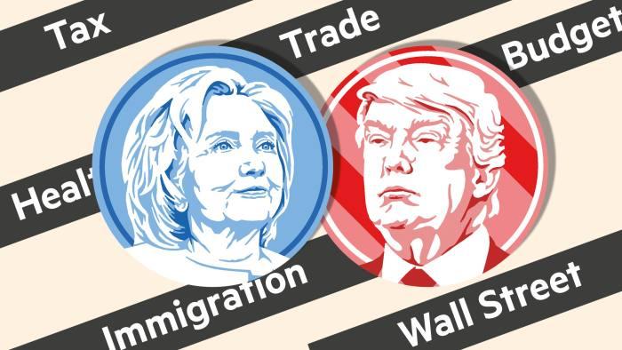 Hillary Clinton Donald Trump policies montage
