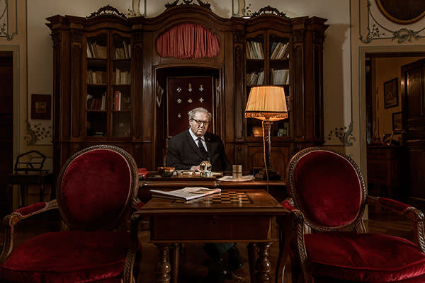 Matthew Festing, His Most Eminent Highness The Prince and Grand Master of the Knights of Malta, in his study