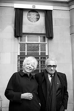 Thelma Schoonmaker with Scorsese at the Powell/Pressburger plaque, London 2014