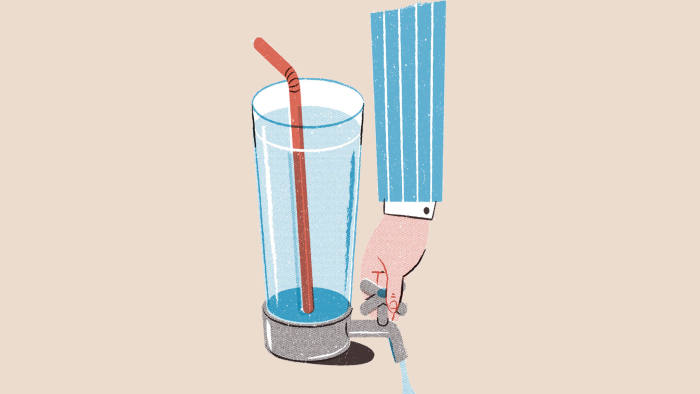 Illustration by Toby Leigh of a hand opening a tap of water