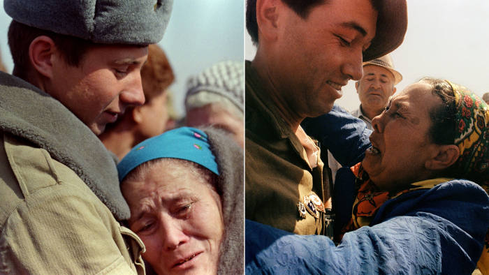 Mothers embrace their Soviet soldier sons in Termez, February 1989 (left) and May 1988 (right), during the withdrawal of troops from Afghanistan