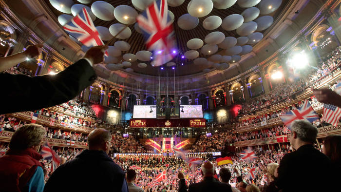The audience waving flags during the 2012 finale of the BBC Last Night Of The Proms, at the Royal Albert Hall in London