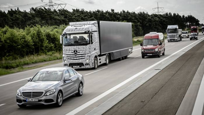 A driverless truck developed by Daimler being tested in Germany