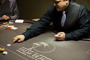 Poker dealer JD at the Palm Beach Casino
