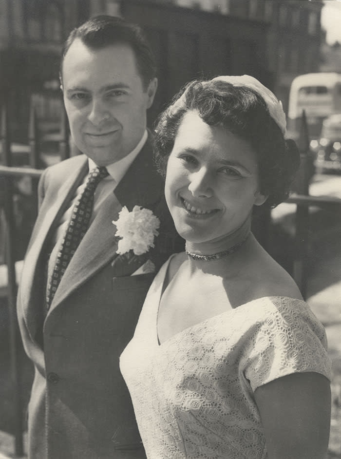 With her husband Nigel Kneale on their wedding day, 1954