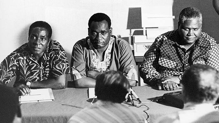 TANZANIA - JANUARY 01: From The Left: One Of The Leaders Of The Rhodesian Fighting Forces Robert Mugabe, The Secretary For Information And Deputy Of The African National Congress (Anc) Georges Silundika And The Leader Of The Zapu Party (Zimbabwe African People Union) Joshua Nkomo At A Meeting In Dar Es Salaam, Tanzania In The 60'S. (Photo by Keystone-France/Gamma-Keystone via Getty Images)