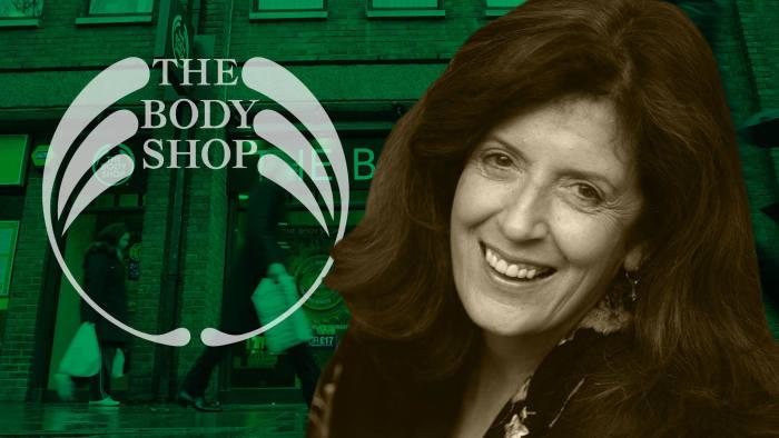 Anita Roddick and Body Shop logo