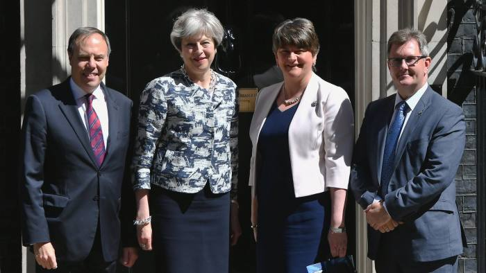 969ecd605b Theresa May greets DUP leader Arlene Foster outside 10 Downing Street on  Monday © PA