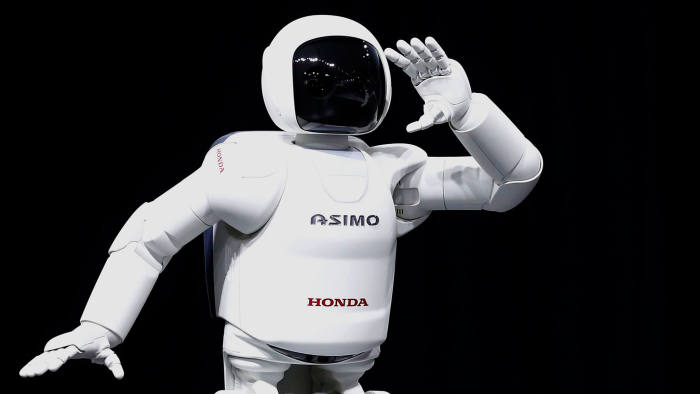 The Honda Motor Company Asimo robot during a presentation at the 2014 New York International Auto Show
