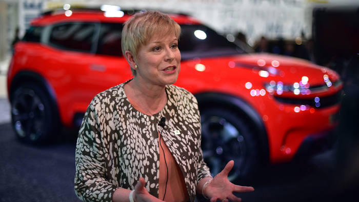 CEO of Citroen Linda Jackson talks during an interview at the 16th Shanghai International Automobile Industry Exhibition in Shanghai on April 20, 2015