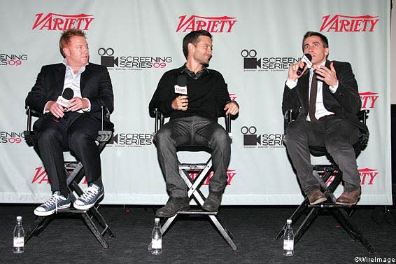 Ryan Kavanaugh, Tobey Maguire and Jake Gyllenhaal attend a Q&A following the 2009 Variety Screening Series presentation of 'Brothers'