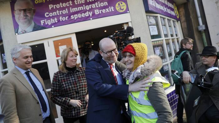 UKIP leader and Stoke Central by-election candidate Paul Nuttall embraces a supporter after a news conference in Stoke on Trent, February 13, 2017. REUTERS/Darren Staples