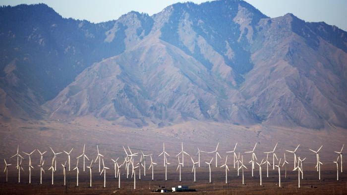 Wind power production in Xinjiang province, western China