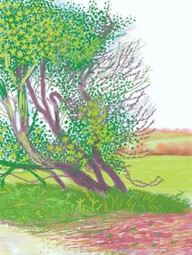 A motif from David Hockney's 52-part 'The Arrival of Spring in Woldgate, East Yorkshire, in 2011'