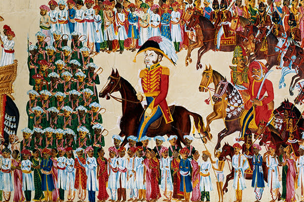 English grandee of the East India Company riding in an Indian procession, 1825-1830