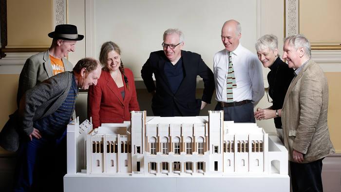 Richard Wilson RA, Patrick Brill aka Bob & Roberta Smith RA, Anne Desmet RA, Sir David Chipperfield RA, Charles Saumarez Smith, Rebecca Salter RA and Chris Orr unveil the plans for the Royal Academy's redevelopment on May 11, 2015 in London, England
