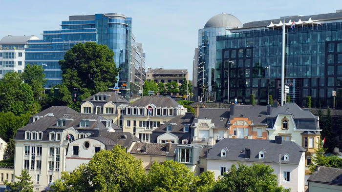 Luxembourg city, a Unesco World Heritage site, with modern architecture and old town houses