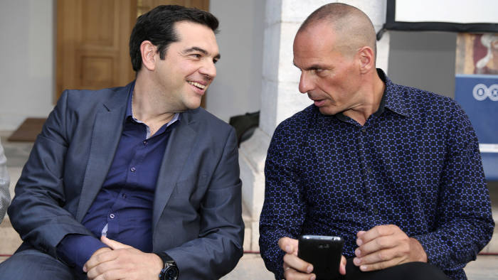 Greece's prime minister Alexis Tsipras, left, and finance minister Yanis Varoufakis