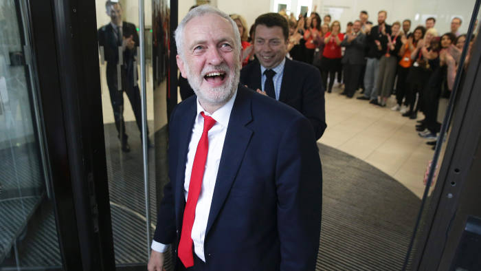 Britain's opposition Labour party Leader Jeremy Corbyn arrives at Labour Party headquarters in central London on June 9, 2017 after results in a snap general election showing a hung parliament with Labour gains and the Conservatives losing its majority. British Prime Minister Theresa May faced pressure to resign on Friday after losing her parliamentary majority, plunging the country into uncertainty as Brexit talks loom. The pound fell sharply amid fears the Conservative leader will be unable to form a government and could even be forced out of office after a troubled campaign overshadowed by two terror attacks. / AFP PHOTO / Daniel LEAL-OLIVASDANIEL LEAL-OLIVAS/AFP/Getty Images