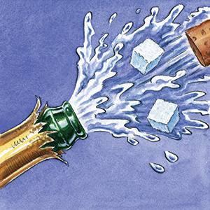 Illustration by Ingram Pinn of a champagne bottle