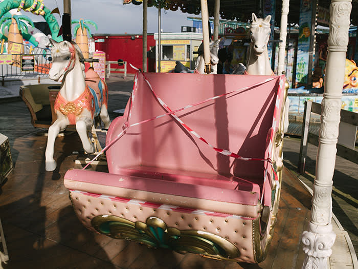 A damaged seat on the Central Pier carousel