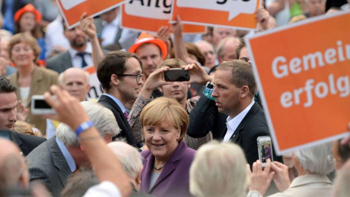 Angela Merkel Campaigns In Frankfurt
