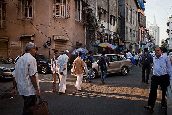 Mumbai, India - 17 March 2016: Street scenes in Fort, Mumbai.