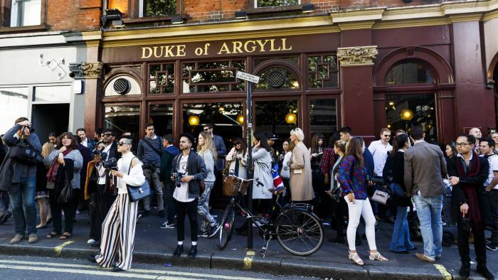 LONDON, ENGLAND - SEPTEMBER 22: A general view outside the BFC Show Space on Brewer Street in Soho during London Fashion Week Spring/Summer 2016 on September 22, 2015 in London, England. (Photo by Tristan Fewings/Getty Images)