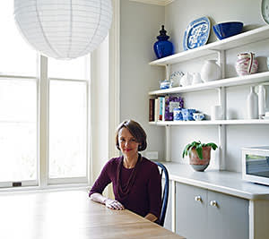 Lucy Kellaway in the kitchen of her home in London