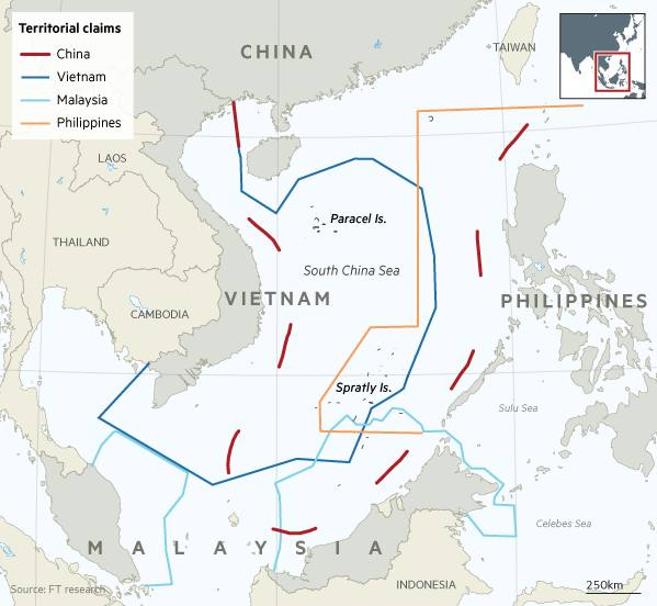 South China Sea territorial control map
