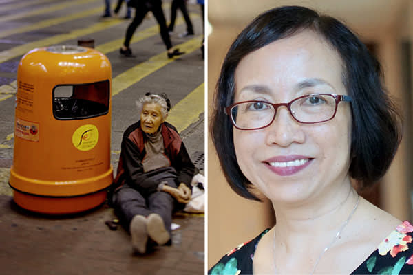 (left) An elderly homeless woman sitting next to a garbage bin next to a busy road crossing in the city centre. (Photo by Jonas Gratzer/LightRocket/Getty Images). (right) Prof Cecilia Chan
