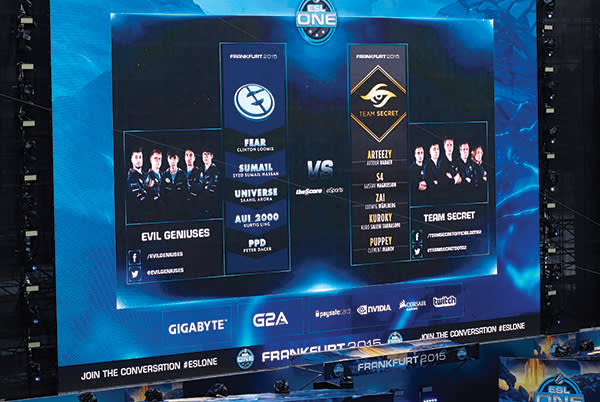 Line-ups for the two finalists, Evil Geniuses and Team Secret