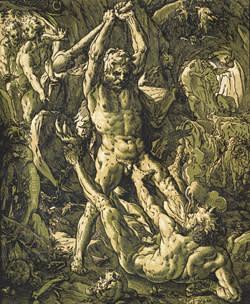 Chiaroscuro woodcut of 'Hercules Killing Cacus' (1588) by Hendrick Goltzius