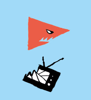 Illustration by Jean Jullien of a shark and a television set