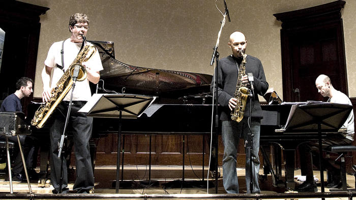 From left, Aaron Goldberg, Chris Cheek, Miguel Zénon and Guillermo Klein on stage at Wigmore Hall