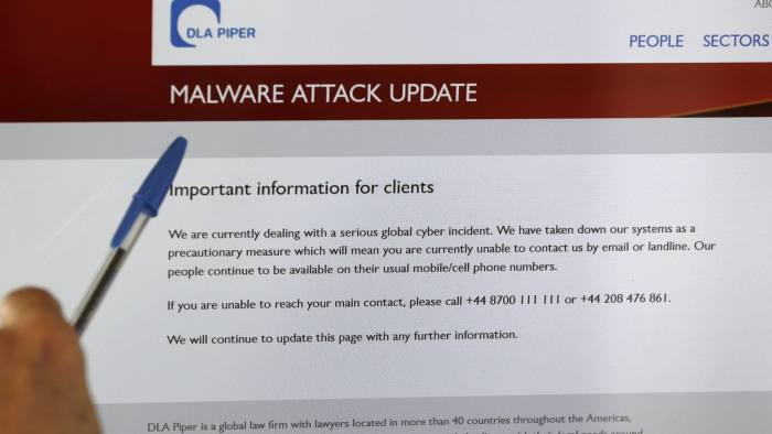 epa06053418 A screen displays the website of the global law firm DLA Piper showing a message about a malware attack advising readers that their computer systems have been taken down as a precautionary measure due to what they describe as a serious global cyber incident, as seen from Launceston, Tasmania, 28 June 2017. Kaspersky Lab reported that the malware, despite resembling 'Petya' malware that affected computers last year, is believed to be a new type of ransomware which it labelled as 'NotPetya'. The ransomware has reportedly affected mostly Ukraine, Russia and Poland with around 2,000 cases reported in the countries. US pharmaceutical giant Merck, the world's second largest such firm, and Australia's Cadbury chocolate factory were reportedly affected, among other global companies. EPA/BARBARA WALTON