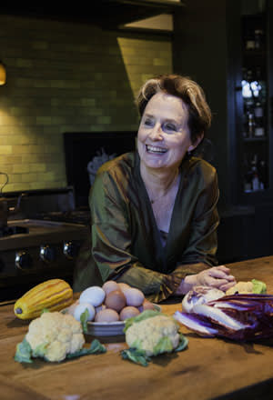Alice Waters in her kitchen