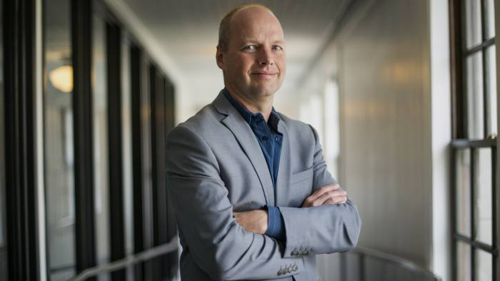 Sebastian Thrun, co-founder and chief executive officer of Udacity Inc., stands for a photograph after a Bloomberg West Television interview in San Francisco, California, U.S., on Friday, March 14, 2014. Udacity Inc. provides and promotes digital education services offering free online courses in computer science, mathematics, general sciences, programming, and entrepreneurship with lecture videos, quizzes and homework assignments. Photographer: David Paul Morris/Bloomberg *** Local Caption *** Sebastian Thrun