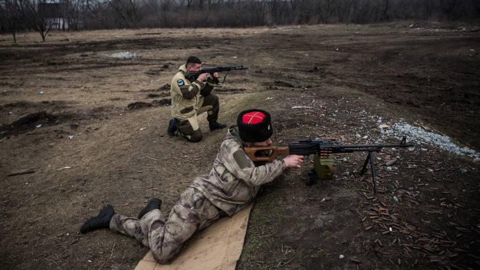 Pro-Russian rebels training in Donetsk, Ukraine, last month