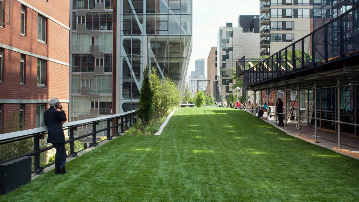 The only grass in the park that sunbathers and picnickers can sit on lies at the High Line's new 23rd Street Lawn, which sprawls from 22nd to 23rd Street and elevates slightly above the path as you go north. The 23rd Street edge offers the High Line's only vantage point of both the Hudson and East rivers. There is also elevator access at 23rd Street and another set of Slow Stairs. (Photo By: Craig Warga/NY Daily News via Getty Images)