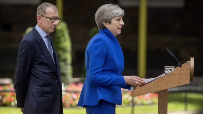 British Prime Minister, Theresa May and her husband Philip make a statement in Downing Street the afternoon.