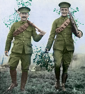 British soldiers carry mistletoe on their rifles in December 1914