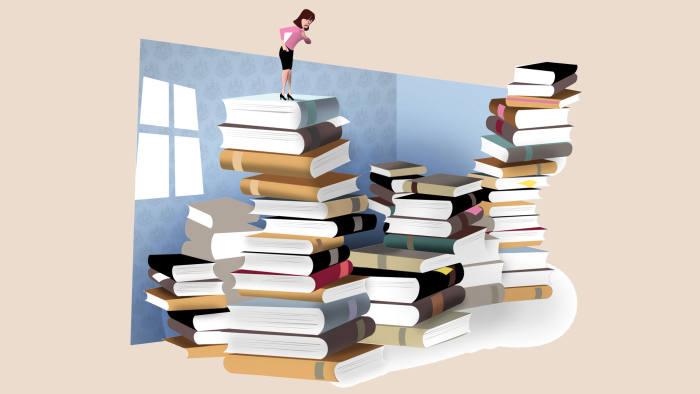 An illustration of a woman on top of a stack of books