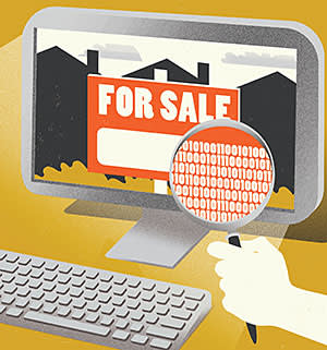Illustration for virtual sleuthing on buying a home