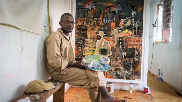 Paul Onditi, in his Nairobi studio