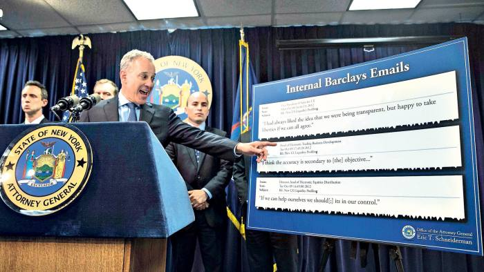New York State Attorney General Eric Schneiderman speaks during a news conference Wednesday, June 25, 2014, in New York. Schneiderman announced Wednesday that he is suing banking and financial services firm Barclays. (AP Photo/John Minchillo)