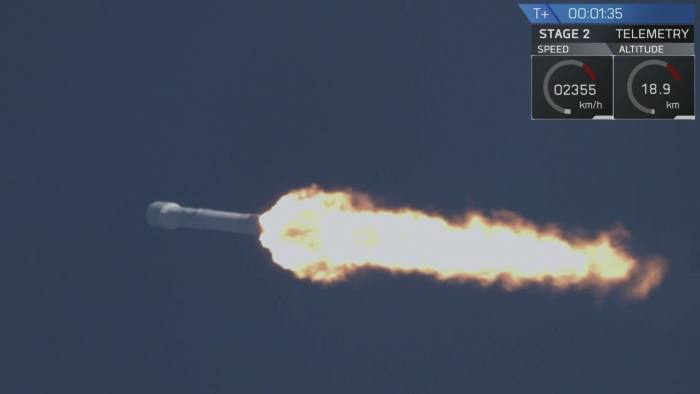 SpaceX Falcon 9 rocket after it lifted off from Kennedy Space Center in Cape Canveral, Florida